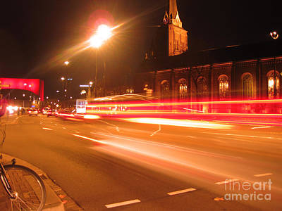 Holland Photograph - Night In Downtown Tilburg by Nop Briex