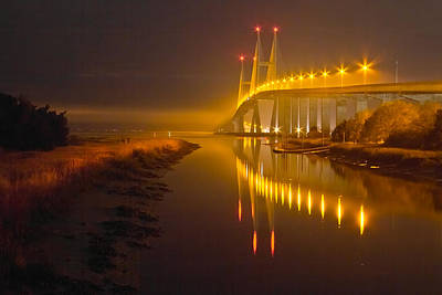 Florida Bridge Photograph - Night Lights by Debra and Dave Vanderlaan