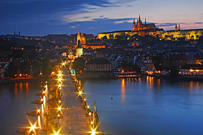 Night Lights Of Charles Bridge Or Art Print by Trish Punch