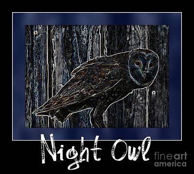 Photograph - Night Owl Poster - Digital Art by Carol Groenen