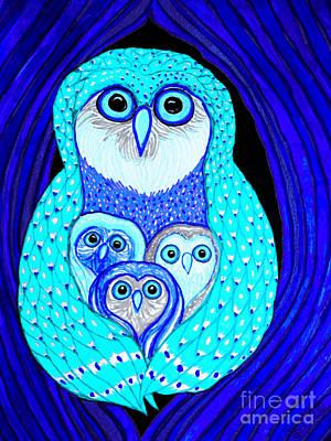 Owl Mixed Media - Night Owls by Nick Gustafson