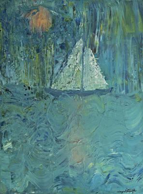 Night Sail Art Print by Wayne Potrafka