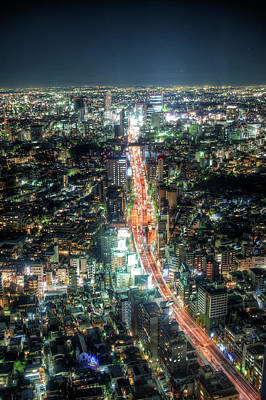 City Street Photograph - Night Scape In Tokyo by Toshiro Shimada