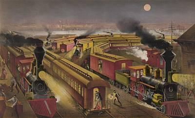 Night Scene At An American Railway Art Print