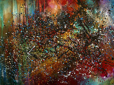 Splatter Paint Painting - 'night Sky' by Michael Lang