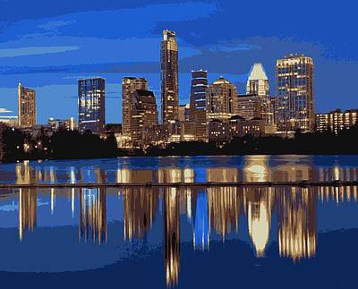 Austin City Limits Photograph - Night Skyline Color 16 by Scott Kelley