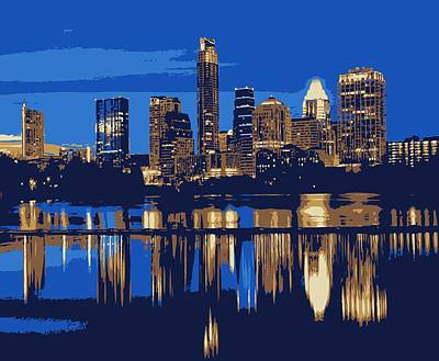 Austin City Limits Photograph - Night Skyline Color 6 by Scott Kelley
