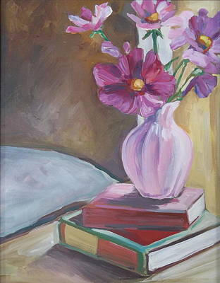 Night Stand With Flowers And Books Art Print by Michelle Grove