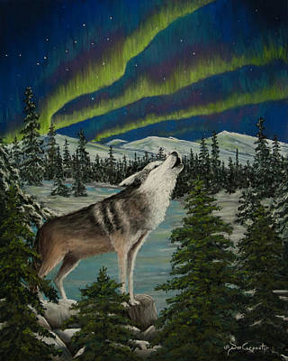Northern Lights Painting - Night Time Solo by Dee Carpenter