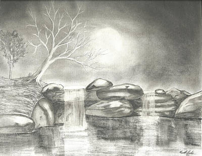 Moonlit Night Drawing - Night Time Waterfall by Keith Sachs