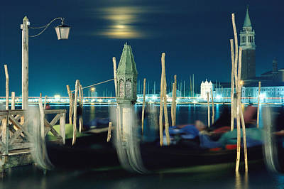 Docks Etc Photograph - Night View Of Harbor And Grand Canal by Steve Winter