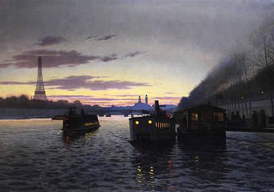 Night View Of Paris Art Print