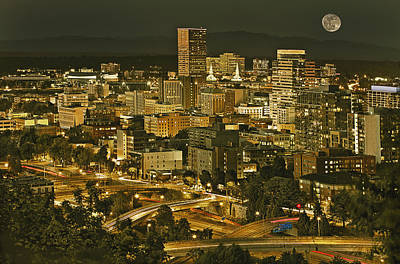 Night View Of Portland City Downtown Art Print by Tatiana Boyle