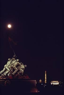 Night View Of The Iwo Jima Monument Art Print