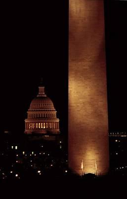Night View Of The Washington Monument Art Print