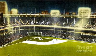 Yankee Stadium Painting - Night View Of Yankee Stadium In The 1950's by Dwight Goss