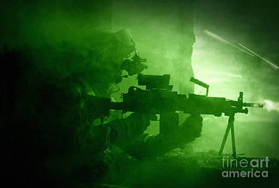 Night Vision View Of A U.s. Army Ranger Art Print by Tom Weber