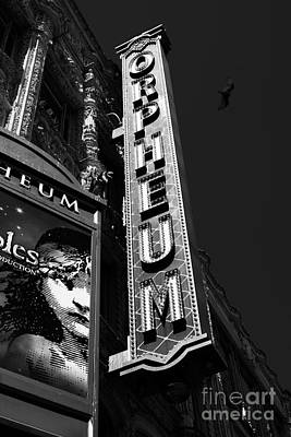 Orpheum Photograph - Nightfall At The Orpheum - San Francisco California - 5d17991 - Black And White by Wingsdomain Art and Photography