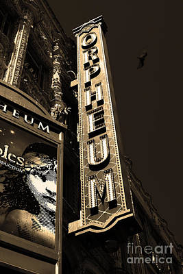 Orpheum Photograph - Nightfall At The Orpheum - San Francisco California - 5d17991 - Sepia by Wingsdomain Art and Photography
