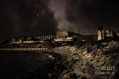 Nightfall Over Hard Time - San Quentin California State Prison - 5d18454 - Partial Sepia Art Print by Wingsdomain Art and Photography