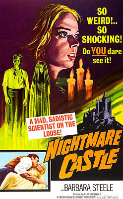 Horror Movies Photograph - Nightmare Castle, Top Barbara Steele by Everett