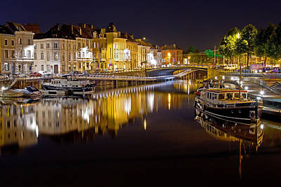 Photograph - Nighttime Along The River Leie by David Freuthal