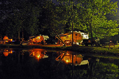 Nighttime In The Campground Art Print by Kay Lovingood