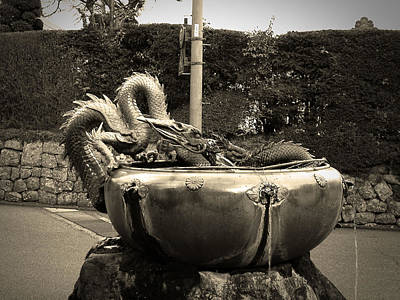 Dragon Photograph - Nikko Fountain by Naxart Studio
