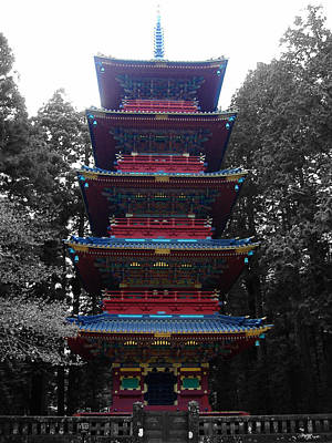 Temple Photograph - Nikko Pagoda by Naxart Studio