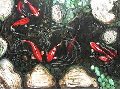 Painting - Nine Carps by Therese Rouleau