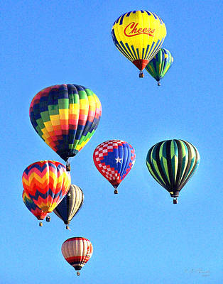 Photograph - Nine Hotair Balloons by Ernie Claudio
