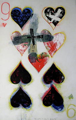 Painting - Nine Of Hearts 21-52 by Cliff Spohn