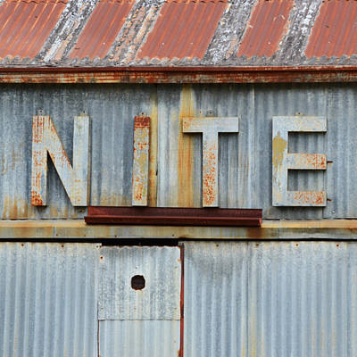 Photograph - Nite Rusty Metal Sign by Nikki Marie Smith