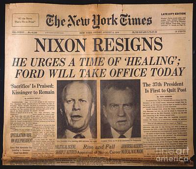 Nixon Resigns: Newspaper Art Print