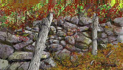 Art Print featuring the drawing N.j. Rock Fence by Jim Hubbard