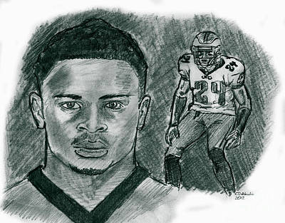 Drawing - Nnamdi Asomugha by Chris  DelVecchio