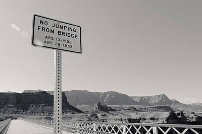 Photograph - No Jumping From Bridge by Julie Niemela