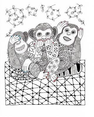 Zia Drawing - No Monkey Business by Paula Dickerhoff