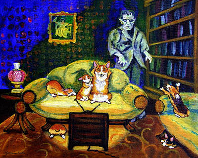 No Such Thing As Monsters - Pembroke Welsh Corgi Art Print by Lyn Cook