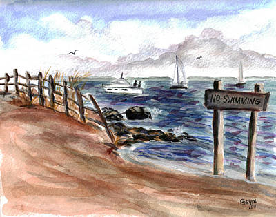 Bayville Painting - No Swimming by Clara Sue Beym