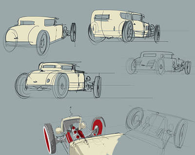 Old Car Drawing - No.12 Variations by Jeremy Lacy