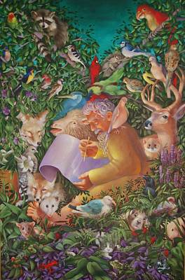 Noah And The Animals Before The Great Flood Original by Rosemarie Adcock