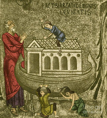 Noah Building The Ark Art Print by Photo Researchers