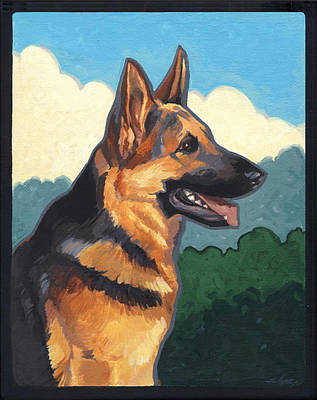 Police Art Painting - Noble German Shepherd Dog by Shawn Shea