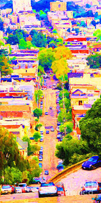 Castro District Digital Art - Noe Street In San Francsico 2 . Long Cut by Wingsdomain Art and Photography