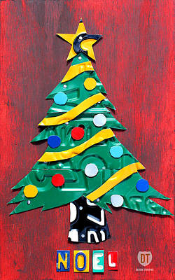 Usa Mixed Media - Noel Christmas Tree License Plate Art by Design Turnpike
