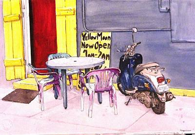 Scooter Painting - Nola Cafe by D K Betts