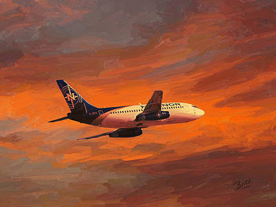 Painting - Nolinor Aviation Boeing 737 Leaves Montreal Mirabel by Nop Briex