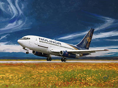 Painting - Nolinor Aviation Boeing 737 Takes Off by Nop Briex