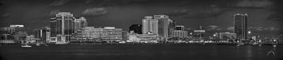 Norfolk Virginia Photograph - Norfolk Waterfront Bw by Williams-Cairns Photography LLC
